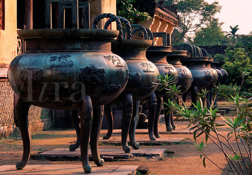 Dynastic urns at the Citadel Ruins Hue Vietnam.