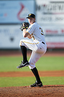 Bristol Pirates starting pitcher Logan Sendelbach (38) in action against the Burlington Royals at Boyce Cox Field on July 10, 2015 in Bristol, Virginia.  The Pirates defeated the Royals 9-4. (Brian Westerholt/Four Seam Images)