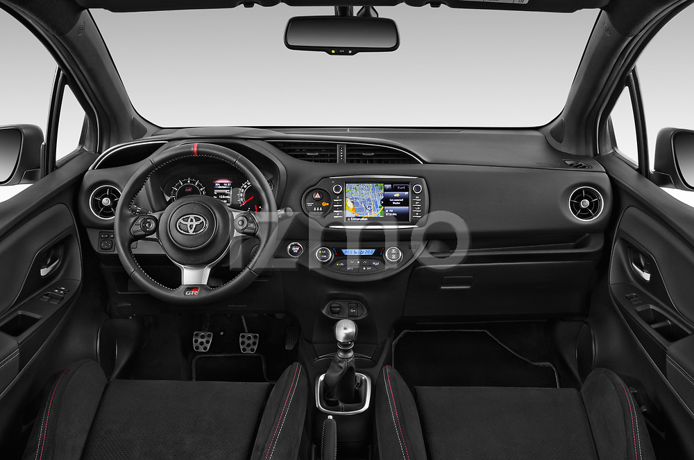 Stock photo of straight dashboard view of a 2018 Toyota Yaris GRMN 3 Door Hatchback
