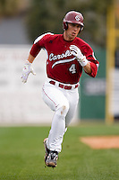 James Darnell (4) of the South Carolina Gamecocks heads for home plate versus the East Carolina Pirates at Sarge Frye Field in Columbia, SC, Sunday, February 24, 2008.