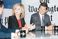 """Jay Faison, Founder and CEO of ClearPath Foundation, (right) speaks at a panel put on by the Washington Post called """"Party Platform: Energy and Environment,"""" at Butcher and the Brewer outside the Republican National Convention in Cleveland, Ohio, on Tues., July 19, 2016.  The panel was moderated by Washington Post opinion writer Stephen Stromberg (left) and also featured Rep. Marsha Blackburn (R-Tenn.) (center)."""