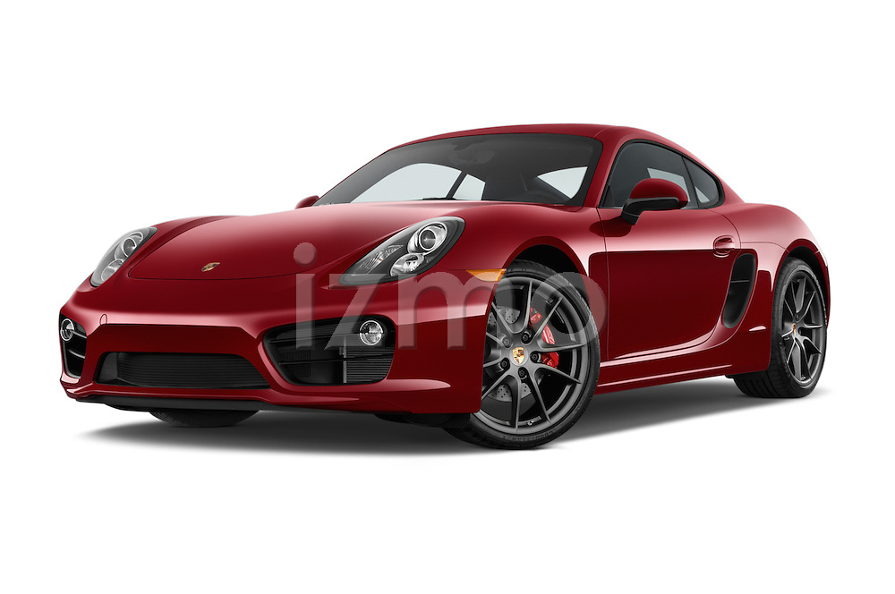Stock pictures of low aggressive front three quarter view of a 2015 Porsche Cayman S 2 Door Coupe Low Aggressive