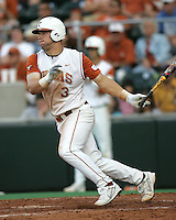 Texas catcher Cameron Rupp bats against Texas A&M on May 16th, 2008 in Austin Texas. Photo by Andrew Woolley / Four Seam Images.