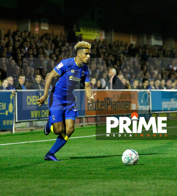 AFC Wimbledon's Lyle Taylor in action during the Carabao Cup match between AFC Wimbledon and Brentford at the Cherry Red Records Stadium, Kingston, England on 8 August 2017. Photo by Carlton Myrie.