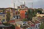 Aya Sofya, mosque, Cankurtaran neighborhood,  old Stamboul, street scene, Sultanahmet district, Istanbul, Turkey