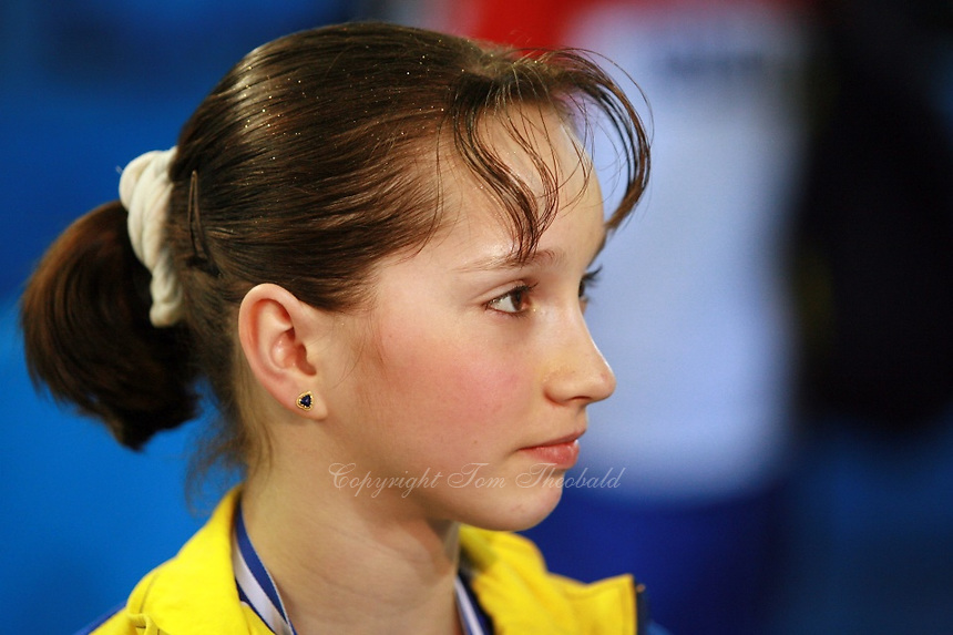 Steliana Nistor of Romania answers questions from journalists after team silver win at 2006 European Championships Artistic Gymnastics at Volos, Greece on April 30, 2006.  (Photo by Tom Theobald)