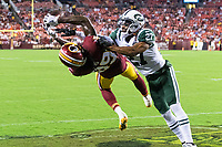 Landover, MD - August 16, 2018: Washington Redskins wide receiver Cam Sims (89) almost pulls of the circus catch against New York Jets defensive back J.J. Wilcox (27) during preseason game between the New York Jets and Washington Redskins at FedEx Field in Landover, MD. (Photo by Phillip Peters/Media Images International)