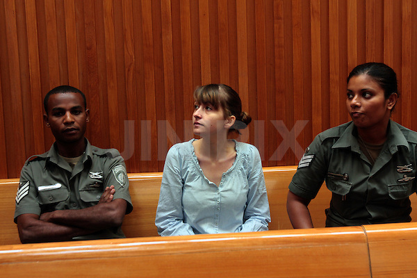 Marie Pizem, mother of Rose Pizem, the four-and-a-half-year-old girl of whose murder she is being charged, is seen is Israel's supreme court in Jerusalem, Sunday, July 19th, 2009. Since Rose's remains were found in a suitcase in the Yarkon river in Tel Aviv 11 months ago, Marie has been under arrest. Today the supreme court refused Marie's request to be released due to her deteriorating health. Photo By: Tess Scheflan / JINI.