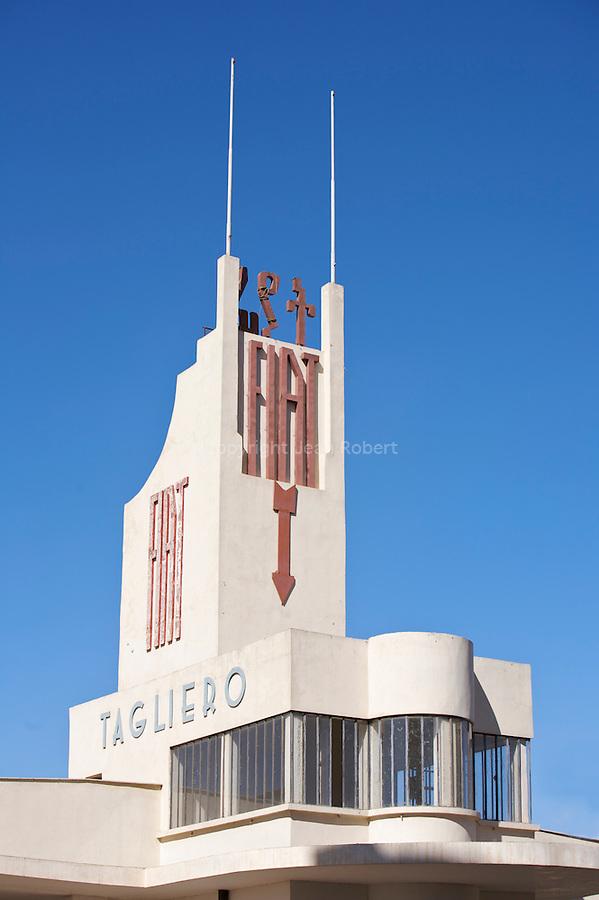 ..Construit en 1938, la station Fiat Tagilero en forme d avion est un des plus beaux monuments futuristes d asmara...Garage and service station Fiat Tagliero, one of Asmara's icons  built in 1938 by  Guiseppe Pettazzi
