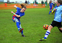 Action from the AIMS games girls' football at Blake Park in Mount Maunganui, New Zealand on Thursday, 14 September 2017. Photo: Dave Lintott / lintottphoto.co.nz