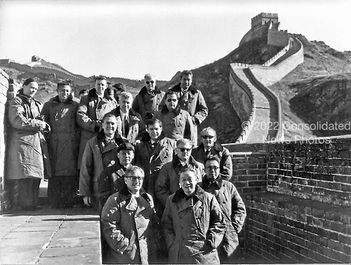 Beijing, China - October 20, 1971 -- National Security Advisor Henry A. Kissinger and party visit the Great Wall of China during their visit to the People's Republic of China (PRC) on October 22, 1971.  Left to right: front row - Henry A. Kissinger, Assistant to the President [of the United States] for National Security Affairs; Chi P'eng-fei, Acting Foreign Minister and interpreter;  second row - Hsiung Hsiang-hui, secretary to the Prime Minister; John Ready, Secret Service;  third row - Brigadier General J.D. Hughes, Military Assistant to the President [of the United States];  Dwight L. Chapin, Deputy Assistant to the President [of the United States]; and Alfred Jenkins le S. Jenkins, [United States] State Department;   fourth row - Gary McLeod, Secret Service; and Brigadier General Albert Redman, Jr., White House Communications Agency;  top row - Diane Matthews, Secretary to Henry Kissinger; Han Hsu, Deputy Chief of Protocol, PRC; William Cuff, stenographer; John Holdridge, National Security Council (NSC) staff; and Robert Taylor, Special Agent in Charge, Presidential Protective Division of the Secret Service..Credit: White House via CNP