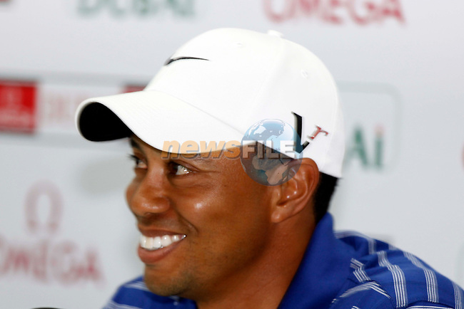 Tiger Woods (USA) in interview after the pro-am for the Omega Dubai Desert Classic played at Emirates Golf Club, Dubai, UAE on 9th February 2011. Picture: Phil Inglis / golffile.ie.
