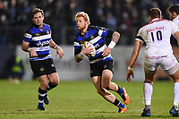 Tom Homer of Bath Rugby in possession. Anglo-Welsh Cup match, between Bath Rugby and Leicester Tigers on November 10, 2017 at the Recreation Ground in Bath, England. Photo by: Patrick Khachfe / Onside Images