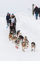 Anna Berington on Cordova St. hill during the Anchorage start day of  Iditarod 2018<br /> <br /> Photo by Trent Grasse /SchultzPhoto.com  (C) 2018  ALL RIGHTS RESERVED