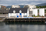 Esso gas petrol station for boats waterside building, Bronnoy, Bronnoysund, Nordland, Norway