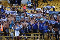 BOGOTÁ -COLOMBIA, 1-03-2018:Hinchas de Emelec durante el partido contra el Independiente Santa Fe , partido por La Copa Conmebol Libertadores 2018 , grupo D  , fecha 1,jugado en el estadio Nemesio Camacho El Campín de la ciudad de Bogotá./ Fans of Emelec during match agaisnt Independiente Santa Fe  by the Conmebol Libertadores Cup 2018, group D, date 1 , played in Nemesio Camacho El Campín stadium of the Bogota  city. Photo: VizzorImage/ Felipe Caicedo / Staff