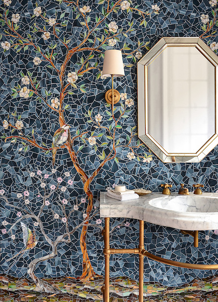 Chinoiserie, a handmade mosaic shown in Emerald, Tourmaline, Labradorite, Opal, Tiger's Eye, Amber, Peridot, Champagne, Rose Quartz, and Pearl jewel glass with Marcasite Sea Glass&trade; is part of the Sea Glass&trade; collection by Sara Baldwin for New Ravenna. <br /> <br /> -Sink featured courtesy of Stone Forest.