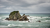 Coastal rock stacks at Tauranga Bay, West Coast, Buller Region, New Zealand