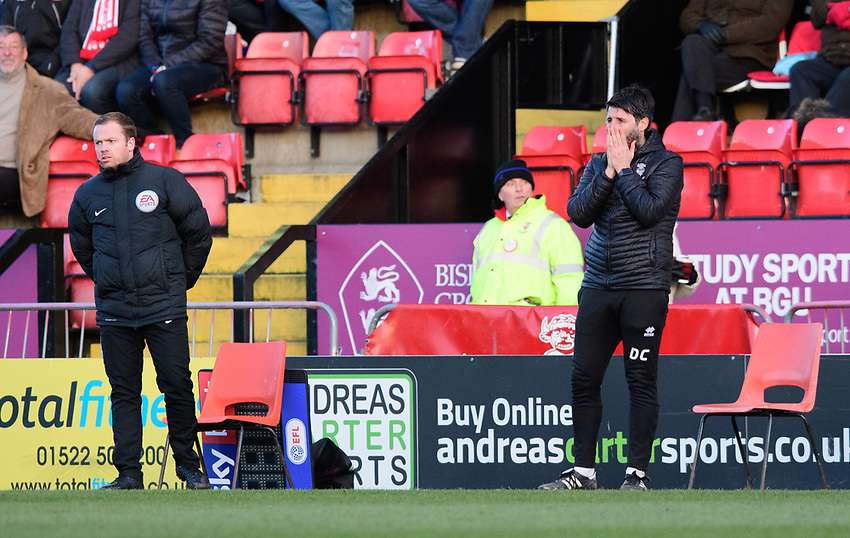 Lincoln City manager Danny Cowley, right, reacts after a decision went against his side<br /> <br /> Photographer Chris Vaughan/CameraSport<br /> <br /> The EFL Sky Bet League Two - Lincoln City v Northampton Town - Saturday 9th February 2019 - Sincil Bank - Lincoln<br /> <br /> World Copyright © 2019 CameraSport. All rights reserved. 43 Linden Ave. Countesthorpe. Leicester. England. LE8 5PG - Tel: +44 (0) 116 277 4147 - admin@camerasport.com - www.camerasport.com