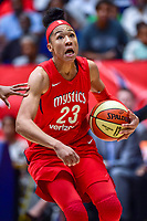 Washington, DC - August 31, 2018: Washington Mystics forward Aerial Powers (23)goes up for a layup during semi finals playoff game between Atlanta Dream and Wasington Mystics at the Charles Smith Center at George Washington University in Washington, DC. (Photo by Phil Peters/Media Images International)