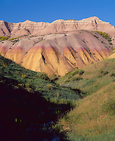 Badlands National Park, SD  <br /> Grass covered wash and banded colors on badland hills near Dillon Pass