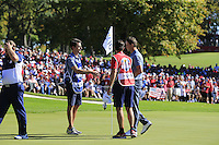 Thomas Pieters (Team Europe) wins his match during Sunday Singles matches at the Ryder Cup, Hazeltine National Golf Club, Chaska, Minnesota, USA. 02/10/2016<br /> Picture: Golffile | Fran Caffrey<br /> <br /> <br /> All photo usage must carry mandatory copyright credit (&copy; Golffile | Fran Caffrey)