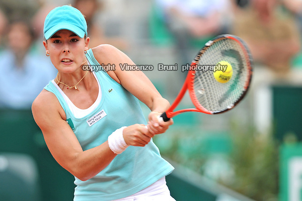 Alize Cornet of France plays at the Internazionali BNL d'Italia tennis tournament on May 17, 2008.