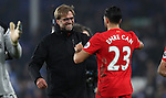 Jurgen Klopp manager of Liverpool celebrates with Emre Can of Liverpool after the English Premier League match at Goodison Park, Liverpool. Picture date: December 19th, 2016. Photo credit should read: Lynne Cameron/Sportimage