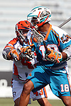 Philadelphia Barrage vs Los Angeles Riptide.Home Depot Center, Carson California.Kyle Harrison (#18) Brian Kuczma (# 43).506P8629.JPG.CREDIT: Dirk Dewachter