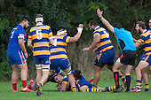 Aloisio Maasi celebrates his 100th game by scoring a try in the first few minutes of the Counties Manukau Premier Club Rugby game between Patumahoe and Ardmore Marist, played at Patumahoe on Saturday July 9th 2016.<br /> Ardmore Marist won the game 33 - 24 after leading 18 - 12 at halftime. Photo by Richard Spranger.