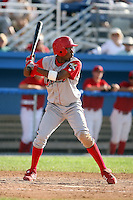 August 3rd 2008:  D'Arby Myers of the Williamsport Crosscutters, Class-A affiliate of the Philadelphia Phillies, during a game at Dwyer Stadium in Batavia, NY.  Photo by:  Mike Janes/Four Seam Images