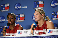 SAN ANTONIO, TX - APRIL 3: Nnemkadi Ogwumike and Jayne Appel during a Final Four press conference at the Alamo Dome on April 3, 2010 in San Antonio, Texas.