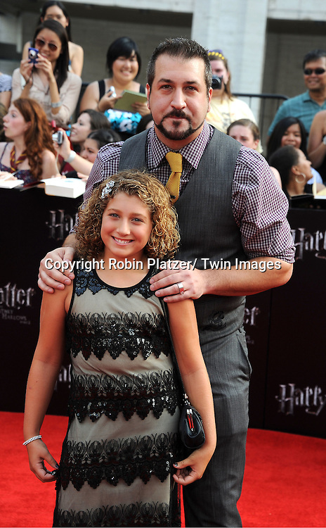 "Joey Fatone and daughter arriving to the"" Harry Potter and the Deathly Hallows- Part 2""  North American Premiere on July 11, 2011 at Avery Fisher Hall in Lincoln Center in New York City."