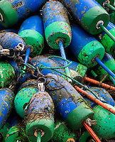 Lobster buoys, Maine, USA