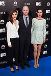 """English actress Emma Watson, left, US director Darren Aronofsky, centre, and US actress Jennifer Connelly attend the Premiere of the movie """"Noah"""" in Madrid, Spain. March 17, 2014. (ALTERPHOTOS/Carlos Dafonte)"""