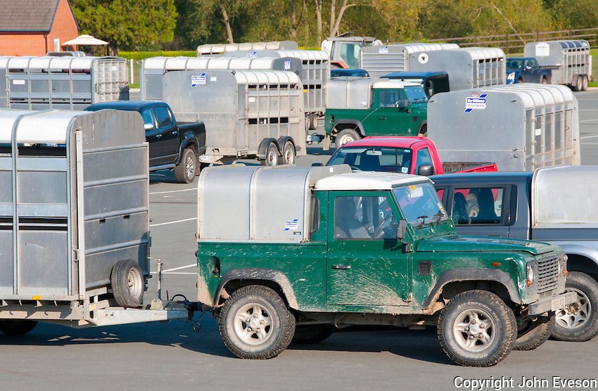 Various 4x4 vehicles and livestock trailers at Welshpool Livestock Market, Powys.