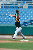 Tyler Gibbons #23 of Lakota East High School in Liberty Township, Ohio playing for the Oakland Athletics scout team during the East Coast Pro Showcase at Alliance Bank Stadium on August 3, 2012 in Syracuse, New York.  (Mike Janes/Four Seam Images)