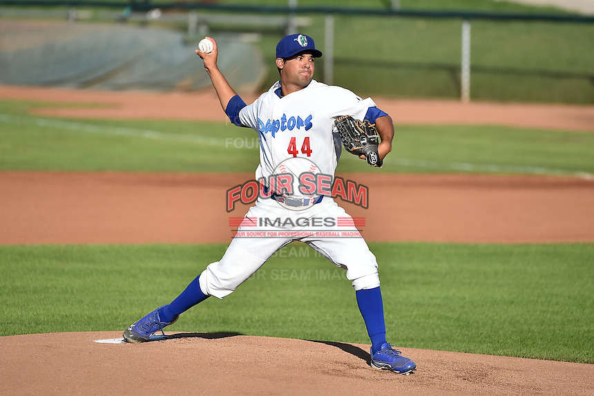 Ogden Raptors starting pitcher Bernardo Reyes (44) prior to the game against the Great Falls Voyagers in Pioneer League action at Lindquist Field on July 16, 2014 in Ogden, Utah.  (Stephen Smith/Four Seam Images)