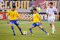 Paulo Henrique Ganso (10) and Carlos Eduardo (16) of Brazil. The men's national team of Brazil (BRA) defeated the United States (USA) 2-0 during an international friendly at the New Meadowlands Stadium in East Rutherford, NJ, on August 10, 2010.