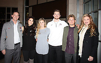 NWA Democrat-Gazette/CARIN SCHOPPMEYER Bobby Alworth (from left), Natalee Falk, Mallori Lindberg, Luke Falk. Burlsworth Trophy finalist, Jesse Braddy and Analee Falk attend the Dec. 4 reception.