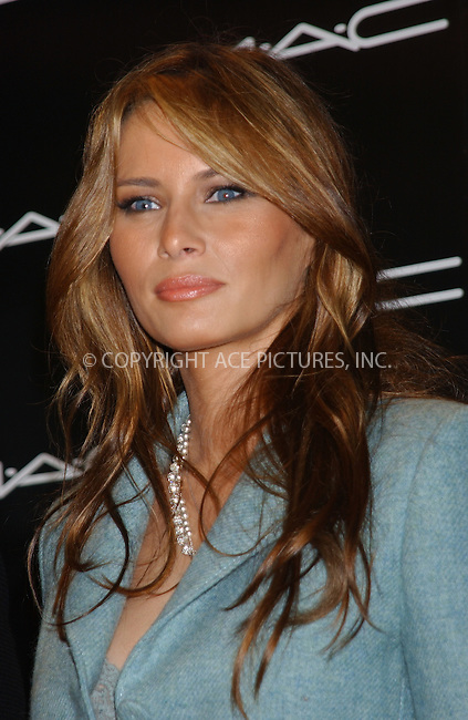 WWW.ACEPIXS.COM . . . . . ....NEW YORK, FEBRUARY 9, 2005....Melania Trump poses for a photo at the annual presentation of the Mac Award, given to Melania Trump during Olympus Fashion Week at Bryant Park.....Please byline: KRISTIN CALLAHAN - ACE PICTURES.. . . . . . ..Ace Pictures, Inc:  ..Philip Vaughan (646) 769-0430..e-mail: info@acepixs.com..web: http://www.acepixs.com