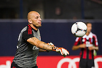 A. C. Milan goalkeeper Christian Abbiati (32). Real Madrid defeated A. C. Milan 5-1 during a 2012 Herbalife World Football Challenge match at Yankee Stadium in New York, NY, on August 8, 2012.