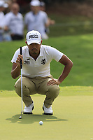 Satoshi Kodaira (JPN) lines up his putt on the 18th green during Friday's Round 2 of the 2017 PGA Championship held at Quail Hollow Golf Club, Charlotte, North Carolina, USA. 11th August 2017.<br /> Picture: Eoin Clarke | Golffile<br /> <br /> <br /> All photos usage must carry mandatory copyright credit (&copy; Golffile | Eoin Clarke)