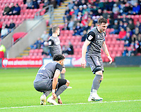 Lincoln City's Bruno Andrade, left, goes down with an injury, with Lee Frecklington<br /> <br /> Photographer Andrew Vaughan/CameraSport<br /> <br /> The EFL Sky Bet League Two - Crewe Alexandra v Lincoln City - Wednesday 26th December 2018 - Alexandra Stadium - Crewe<br /> <br /> World Copyright &copy; 2018 CameraSport. All rights reserved. 43 Linden Ave. Countesthorpe. Leicester. England. LE8 5PG - Tel: +44 (0) 116 277 4147 - admin@camerasport.com - www.camerasport.com