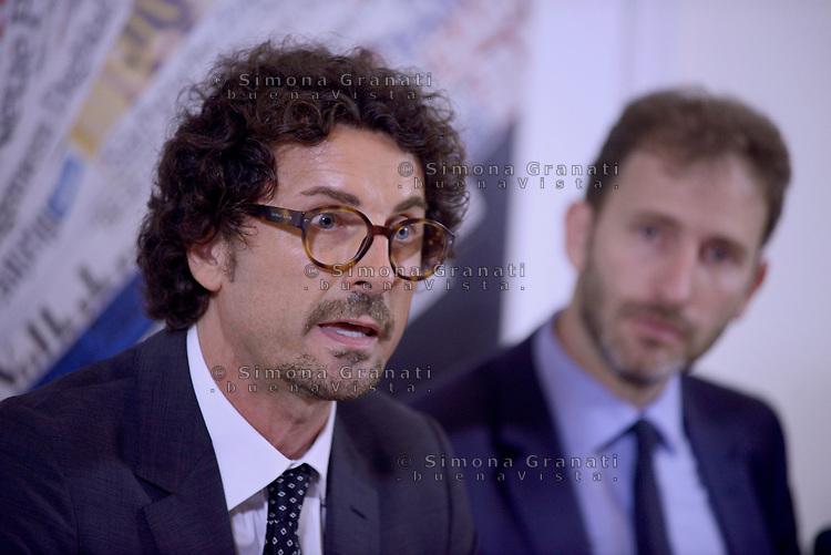 Roma, 2 Agosto 2017<br /> Danilo Toninelli e Davide Casaleggio.<br /> il Movimento 5 Stelle presenta alla Stampa estera la nuova versione della piattaforma Rousseau con Davide Casaleggio