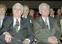 Montreal (qc) CANADA - file Photo - 1992 - <br /> Union des Municipalites du Quebec convention in April -<br /> Ralph Mercier, UMQ President and Mayor of Charlesbourg (L)<br />  Claude Ryan, Quebec Minister of Municipal Affairs (R)