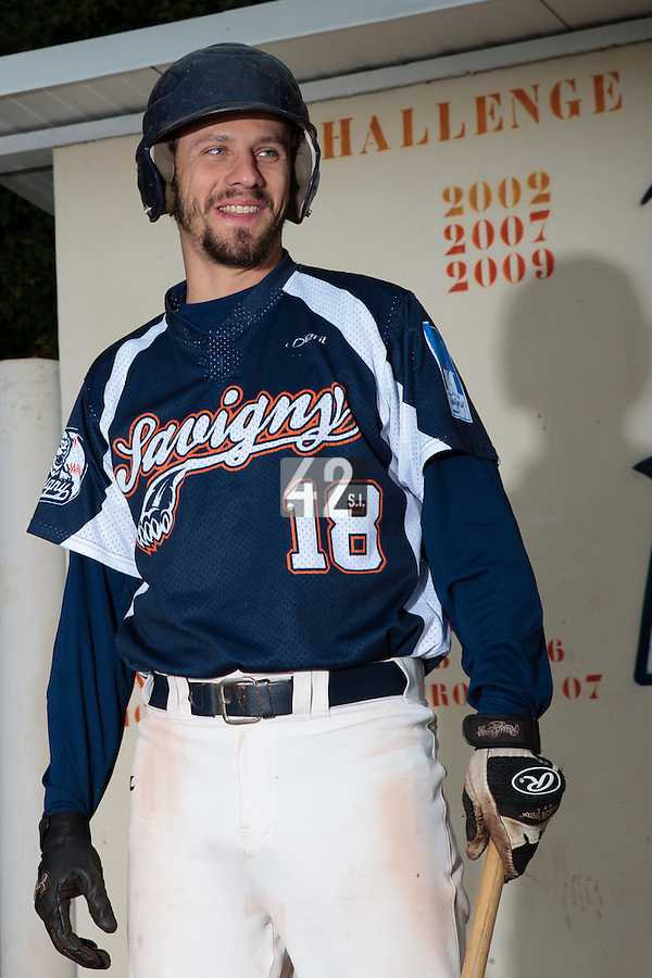 23 October 2010: Chris Goniot of Savigny is seen during Savigny 8-7 win (in 12 innings) over Rouen, during game 3 of the French championship finals, in Rouen, France.