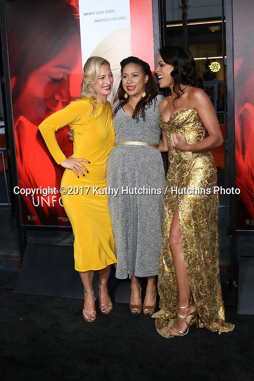 "LOS ANGELES - APR 18:  Zoe Bell, Tracie Thoms, Rosario Dawson at the ""Unforgettable"" Premiere at TCL Chinese Theater IMAX on April 18, 2017 in Los Angeles, CA"