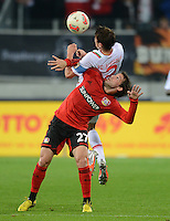 FUSSBALL   1. BUNDESLIGA  SAISON 2012/2013   5. Spieltag FC Augsburg - Bayer 04 Leverkusen           26.09.2012 Paul Verhaegh (li, FC Augsburg) gegen Gonzalo Castro (Bayer 04 Leverkusen)