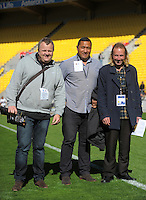 Match commentators, from left, Matt Buck, Issac Feanati and Adam Julian after the Mitre 10 Cup rugby union semifinal match between Wellington Lions and North Harbour at Westpac Stadium, Wellington, New Zealand on Saturday, 22 October 2016. Photo: Dave Lintott / lintottphoto.co.nz